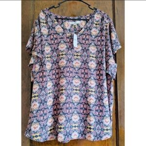 Loft Top, Loft Plus, V Neck Print Blouse, NWT